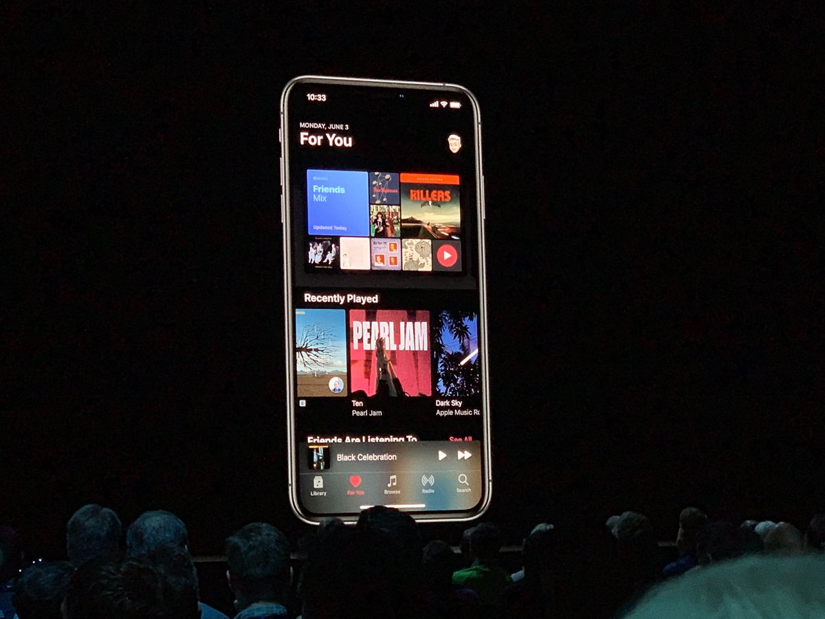The Music app in Dark Mode. The Music apps i'll get time synced lyrics too. Great for sing-alongs.
