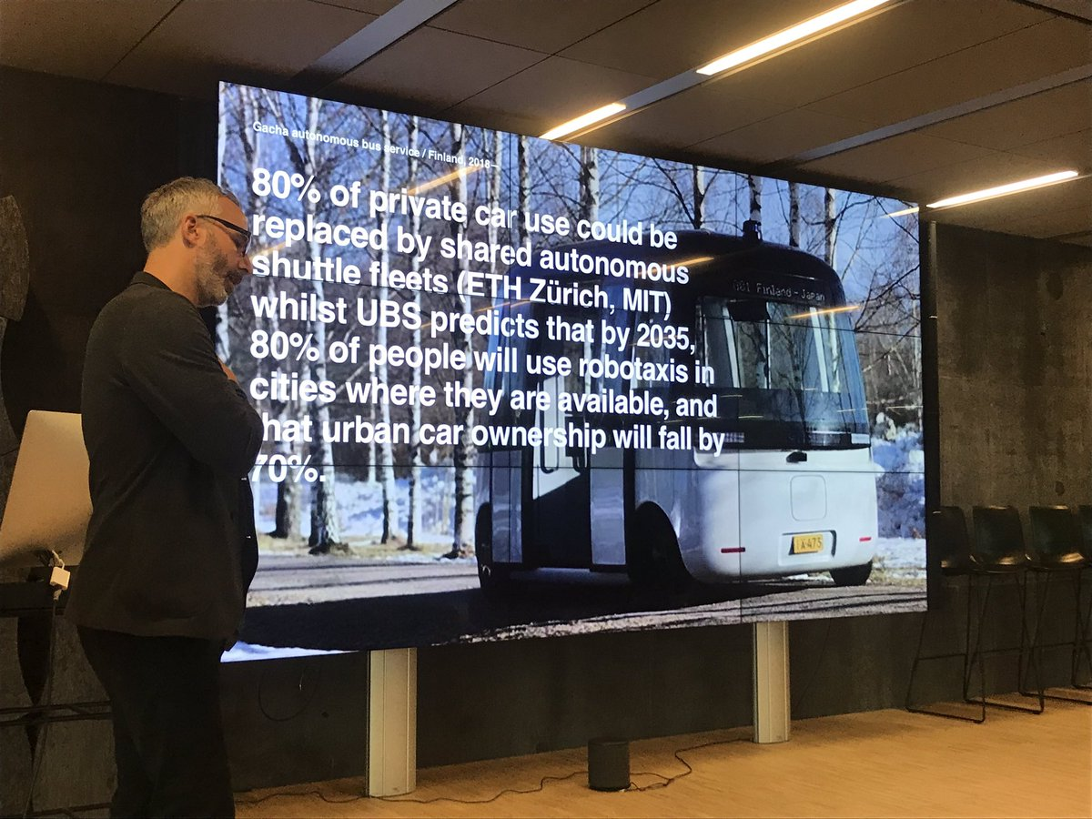 "80 % of private 🚗 use could be replaced by shared autonomous shuttle fleets!Thanks to @cityofsound for coming by this Monday's ""Science-to-go about the infrastructure of collaborative innovation! 🙏"
