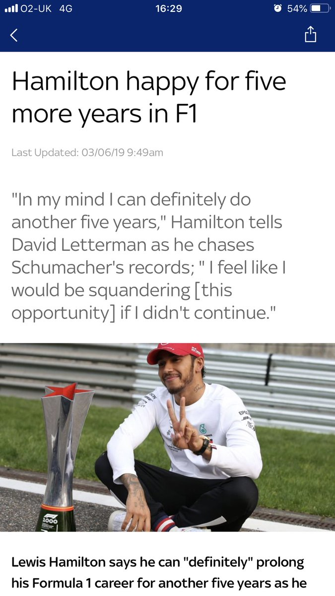 I watched the @Letterman interview with @LewisHamilton yesterday and this is good news 🙌🏼🙌🏼🙌🏼