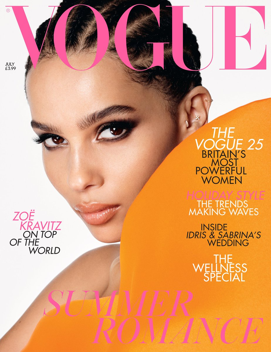 .@ZoeKravitz stars on the July 2019 cover of British Vogue. Photographed by #StevenMeisel and styled by @Edward_Enninful, with hair by @GuidoPalau and Nikki Nelms and make-up by @PatMcGrathReal. On newsstands Friday 7 June http://vogue.uk/u412c4