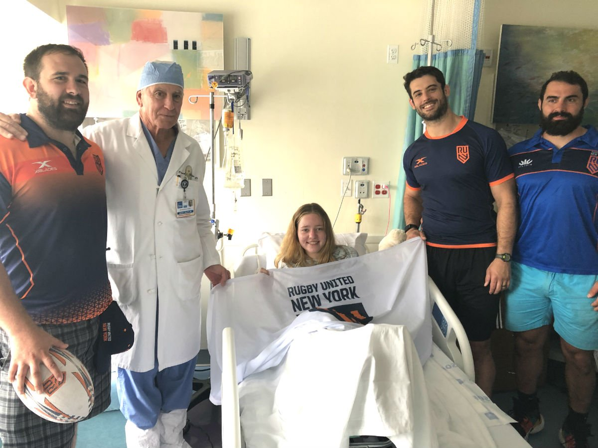 We'd like to thank Anthony Parry, Trevor Cassidy, and Callum Mackintosh of @rugbyunitedny for stopping by and visiting our pediatric patients at the HSS Lerner Children's Pavilion last week! #UniteTheEmpire #HSSKids