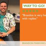 Image for the Tweet beginning: Way to Go, Brandon! #EmployeeShoutout