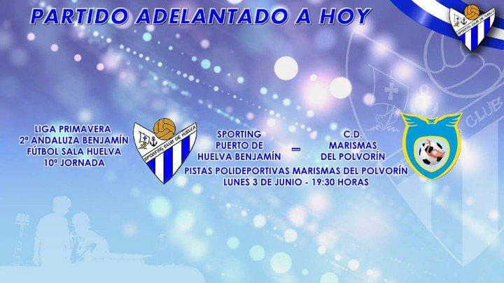 El Sporting Puerto de Huelva Benjamín despide la temporada con un partido adelantado a hoy lunes.
