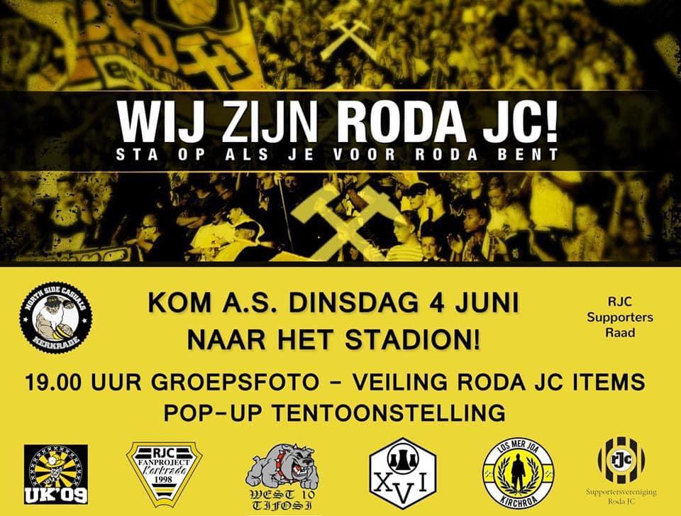 """Dat is DE DAG van alle Roda supporters """" come on""""💪🏻💪🏻👊🏻👊🏻trots op alle supportersverenigingen die Roda en ons steunen. Wat een samenwerking!! Dat is waarvoor Roda staat, Samen👊🏻"""