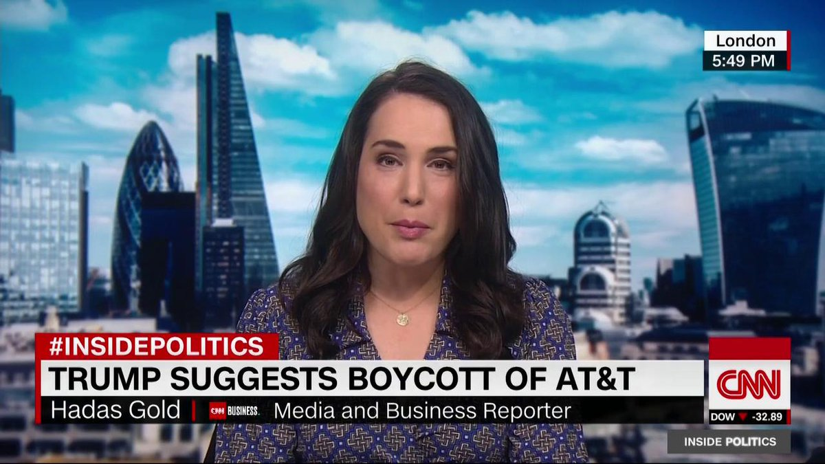 """""""A president calling for an economic boycott of one of the largest telecommunications companies because he doesn't like their news network ... is completely norm-shattering,"""" says @Hadas_Gold, as President Trump suggests a boycott of AT&T for carrying CNN. http://cnn.it/2QHxoLZ"""