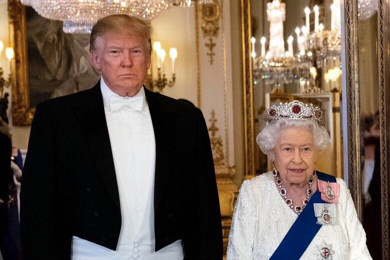 The Queen giving Donald Trump a book as a gift is like giving a grizzly bear a Bed Bath & Beyond coupon for 25% off curtains  homeslice has no use for that whatsoeverrr