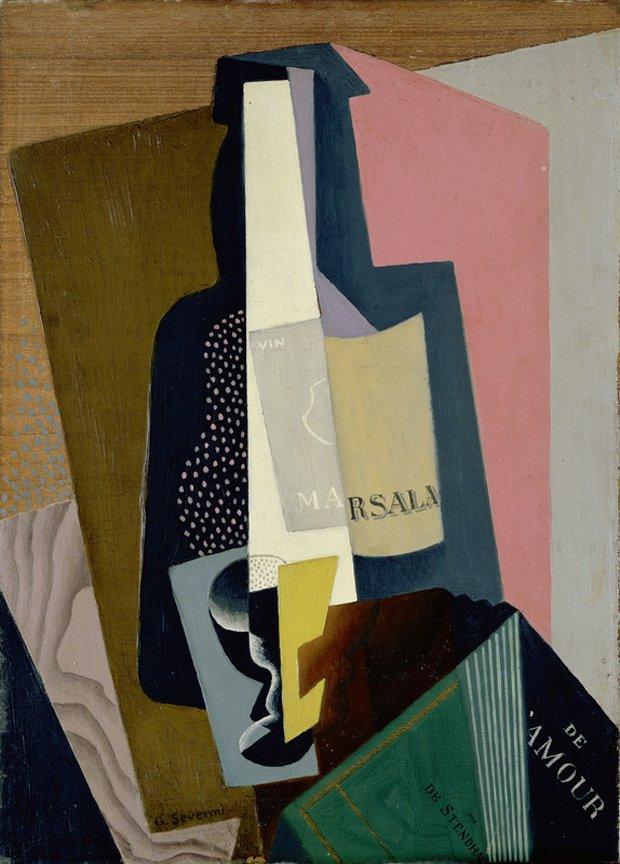 Still Life with Marsala Bottle, 1917 #severini #syntheticcubism <br>http://pic.twitter.com/oTv9a7L71J