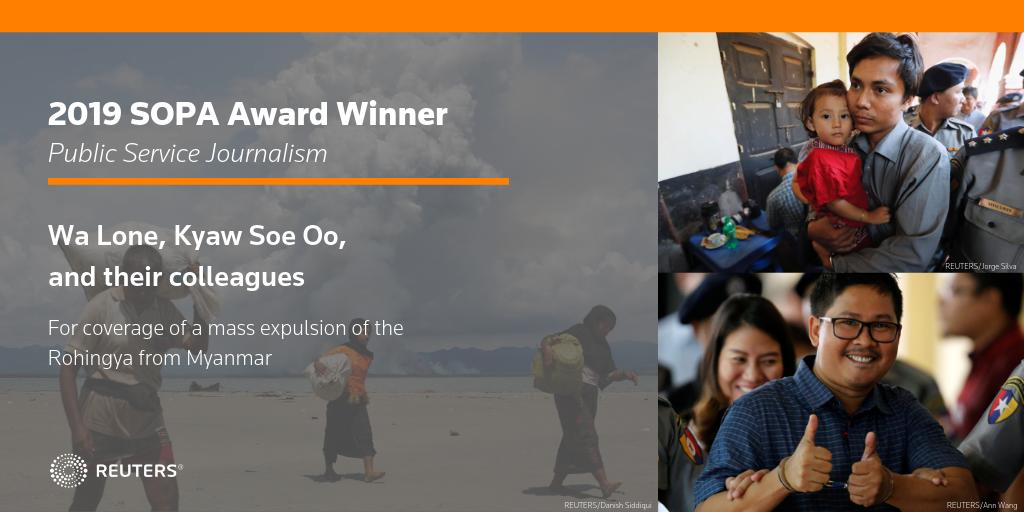 Congrats to @Reuters @walone4, Kyaw Soe Oo, @slodek, @Simondlewis, @Journotopia, @stecklow, and their colleagues for winning a @sopasia award in Public Service Journalism for coverage of a mass expulsion of the Rohingya from Myanmar #sopawards2019 https://t.co/k35t6kYI1l https://t.co/1L882ou5k0