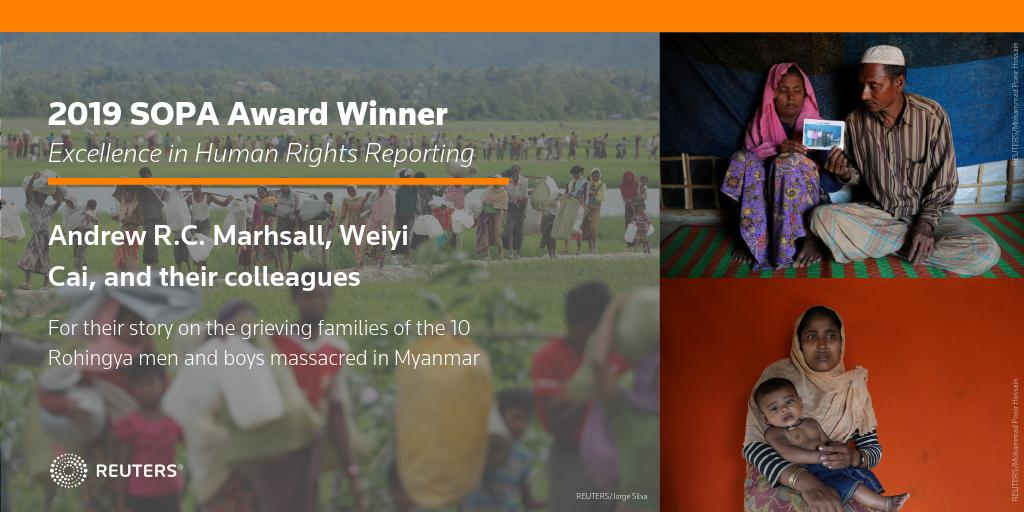 Congratulations to @Journotopia, @dawncai624, and their colleagues for winning the award in Excellence in Human Rights Reporting for their story on the grieving families of the Rohingya men and boys massacred in Myanmar @sopasia #sopawards2019 https://t.co/MaVId0Bkx8
