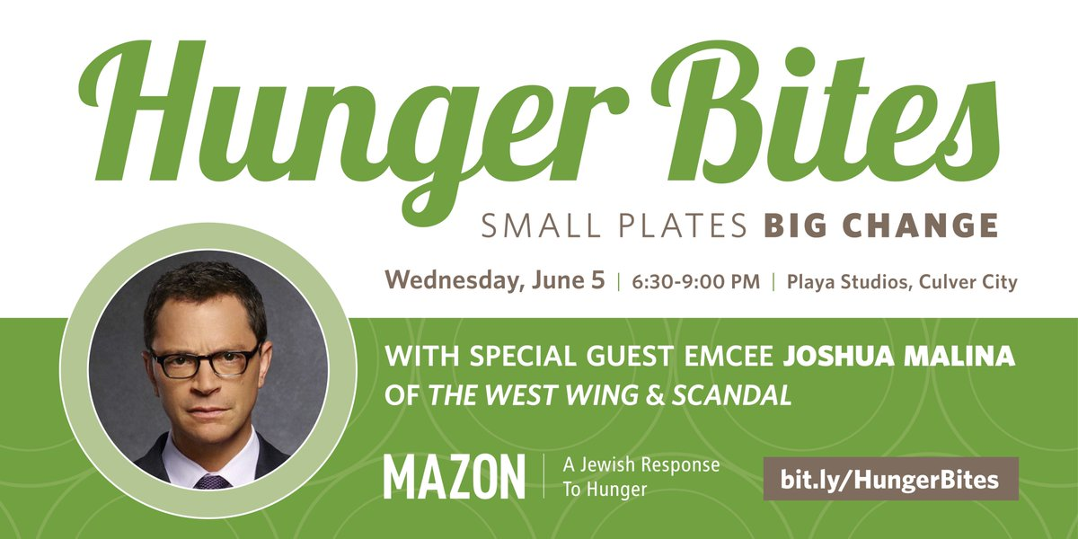 ⏰ Just a few days left to get tix for #HungerBites! Dont miss an amazing evening with @MAZONusa, special MC @JoshMalina & an incredible group of talented, award-winning chefs cooking delicious tastes! Tix at bit.ly/HungerBites