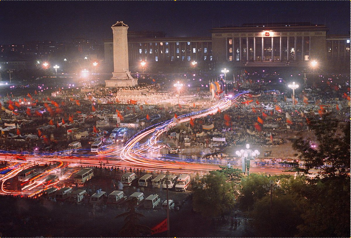This spectacular night scene of the mass hunger strike in Tiananmen Square 1989 was taken by a friend of mine. He wants it to be shared, but is too afraid to reveal his name.