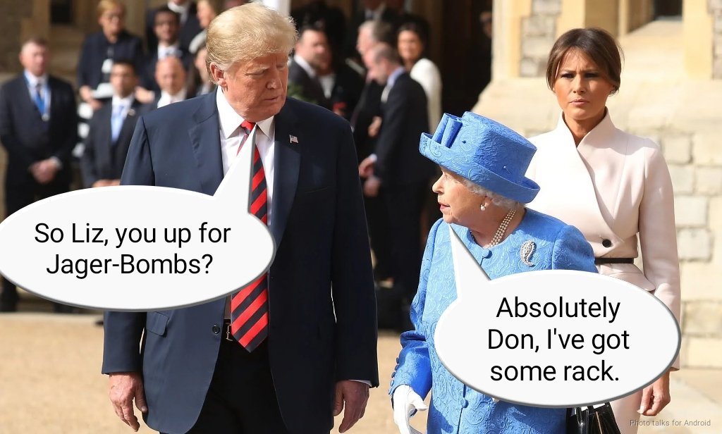 All seems to be going well... #TrumpUKVisit #Queen