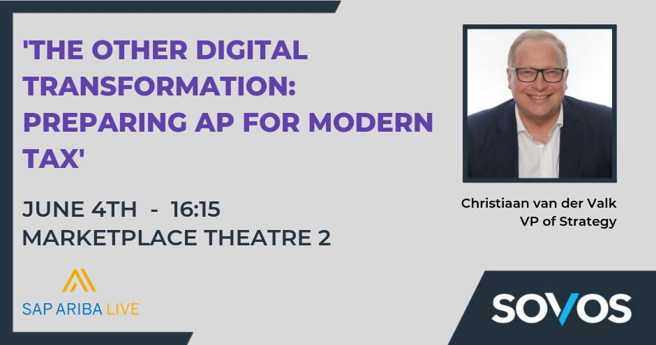 If you're at #SAPAribaLive today, join Christiaan van der Valk's session at 16:15 in Marketplace Theatre 2 when he'll be sharing his insights into prioritising tax compliance in cloud procurement. #solvetaxforgood