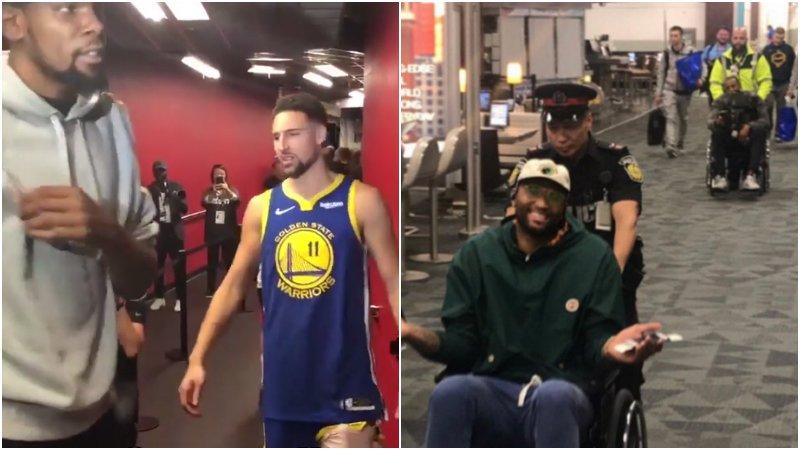【影片】勇士暴龍G2賽後:K湯杜蘭特在通道與Drake互噴垃圾話,表弟和一哥賽後雙雙坐著輪椅退場!