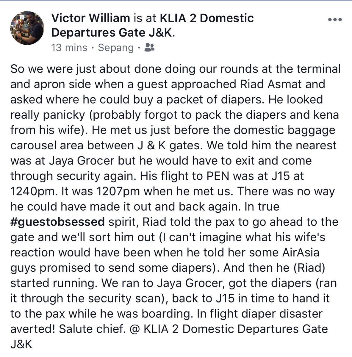 Apart from ensuring smooth operations, @riadasmat had to deal with a diaper situation this morning.   Thanks for sharing @victorDwilliam!   #airasia #Raya