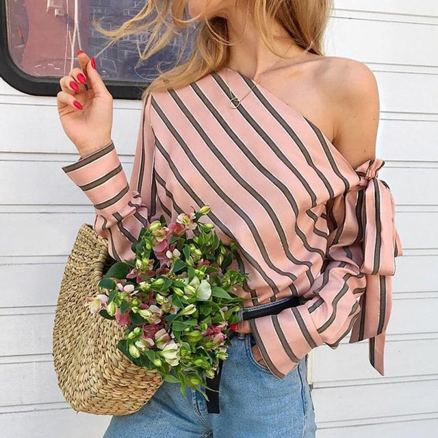 Place Order For Women's One Shoulder Striped Blouses At @OliviaxSloane #OneShoulderStripedBlouse #StripedBlouse #Blouse #OneShoulderStripedtop #Stripedtop #Top #Fashion #LadiesGarments #Clothing #Womenstyle #Style Visit Us To Get More Variety : https://bit.ly/2WImTgQ