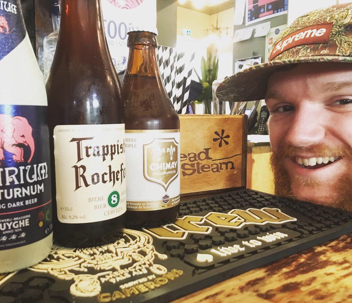 Ivan's homework! 'research' three of our excellent beers!  Delirium Nocturnum, Chimay Tripple and Rochefort 8! What do you know about theses authentic Belgium beers?  #beerme #headofsteamhuddersfield #cameronsbrewery #Belgiumbeer #beer #beerschool #trappist