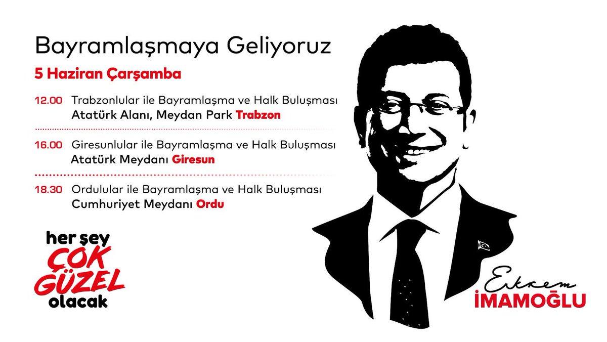"""Ekrem İmamoğlu (@ekrem_imamoglu ) Twitter hesabından """"Bayramlaşmaya geliyoruz. 5 Haziran Çarşamba günü Trabzon, Giresun ve Ordu'dayız"""" mesajı paylaştı."""