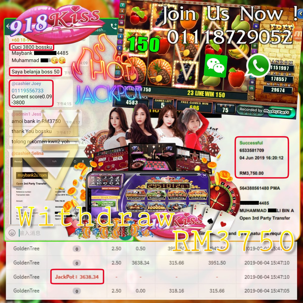 918kiss💋💋 Big JackPot Get Withdraw RM3750 👏👏 Join us now