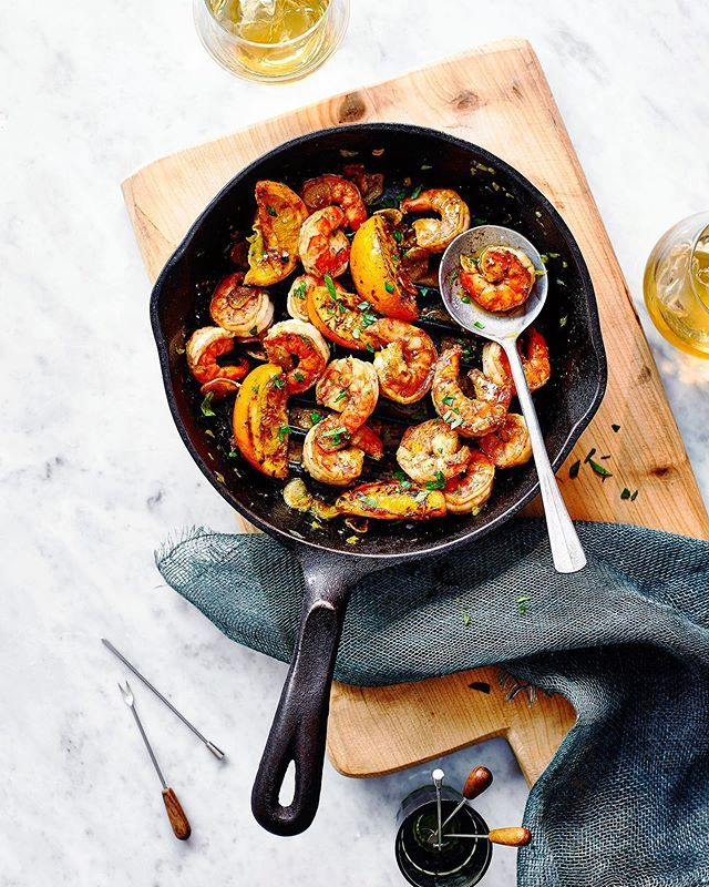 King prawns with orange and vermouth. Game changer ingredient, shot for this month's @deliciousmag Food Styling @sophie_cooks Props @victoriaeldridge http://bit.ly/2Z9o6vf
