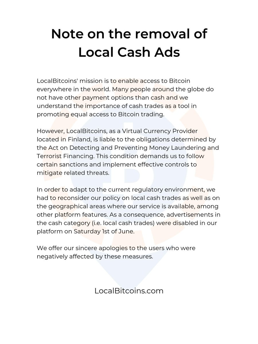 LocalBitcoins confirms removal of in-person cash trades