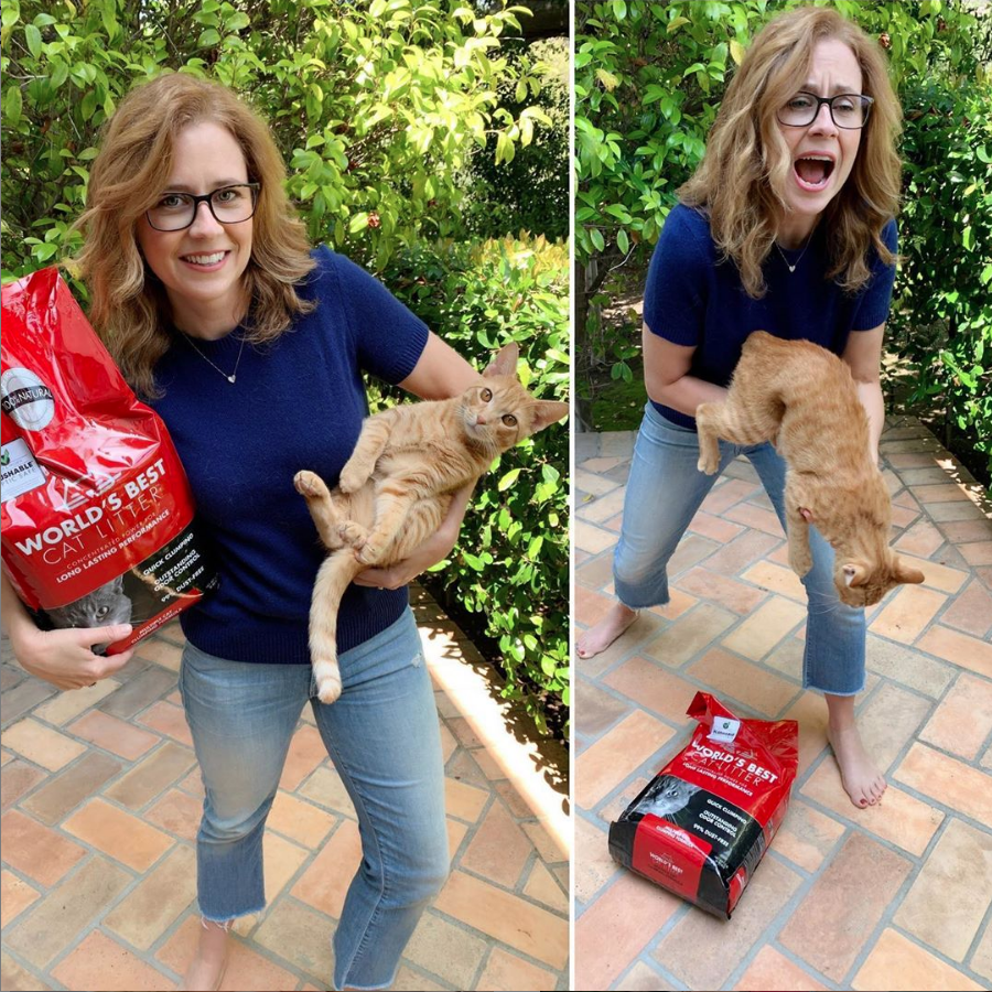 Join @jennafischer and her rescue cat, Sonny, in showing your support for our 2019 GiveLitter™ campaign. Tweet #giveacrap along with a photo of your cat and we'll donate one pound of litter to a hardworking shelter. worldsbestcatlitter.com/give-a-crap/ #givelitter #giveacrap