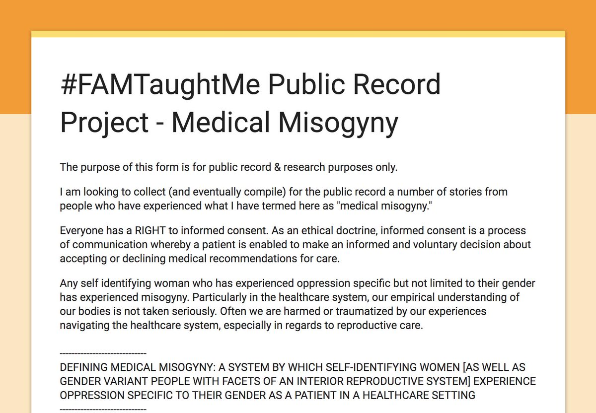 """Someone, Somewhere on Twitter: """"#FAMTaughtMe Public Record Project ⚠️ Medical  Misogyny Submit your story with credit, or anonymously. Sharing is  welcomed! https://t.co/k8K627t8Ah… https://t.co/1LsdocduFB"""""""