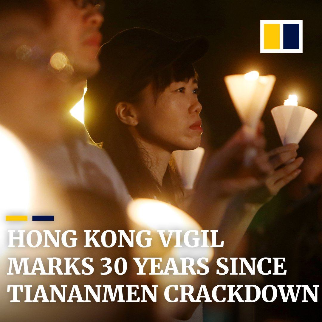 A record crowd of more than 180,000 people gathered in #HongKong's Victoria Park to mark the 30th anniversary of the crackdown on #Tiananmen Square. http://sc.mp/gu44 #Tiananmen30