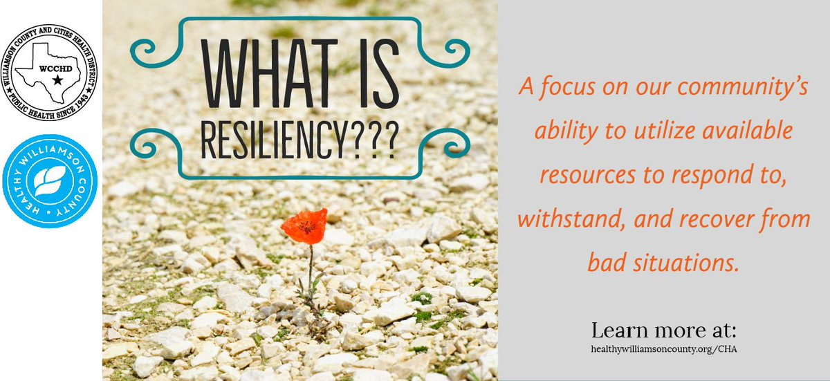 Resiliency is a focus on our community's ability to utilize available resources to respond to, withstand, and recover from bad situations. To learn more about resiliency in Williamson County visit: http://www.healthywilliamsoncounty.org/cha #2019CHA #HealthyWilliamson