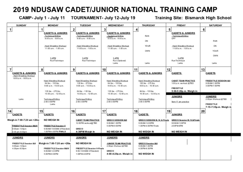 2019 NDUSAW Fargo camp schedule released, more info available at; https://www.ndusaw.com/jrdualsfargo