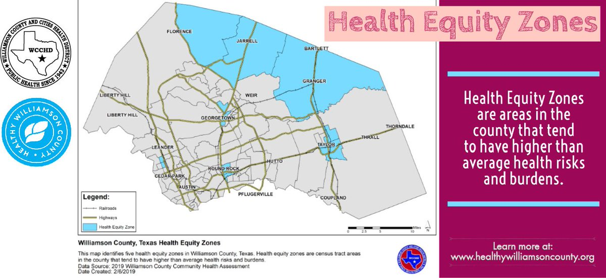 Have you ever heard of Health Equity Zones? Health Equity Zones are areas in the county that tend to have higher than average health risks and burdens. Where are these zones in Williamson County? Click here to learn more: http://www.healthywilliamsoncounty.org/cha #2019CHA #HealthyWilliamson