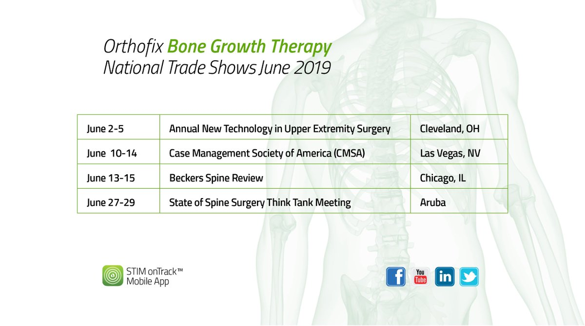 Orthofix Bone Growth Therapy will be at these National Trade Shows this month! Come visit our booth and learn more about our devices.  #RedefineTheRecoveryExperience #OrthofixSTIM