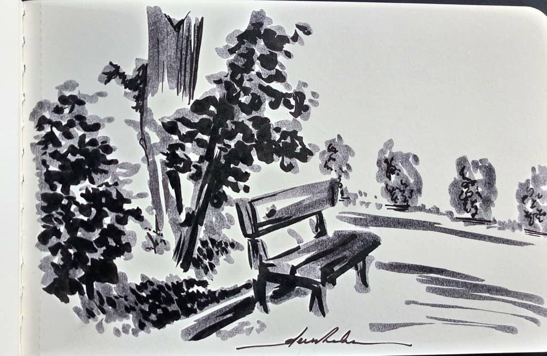 Bench #dailyart #dailyillustration #trees #nature #park #bench https://t.co/83KMEZ9fVG