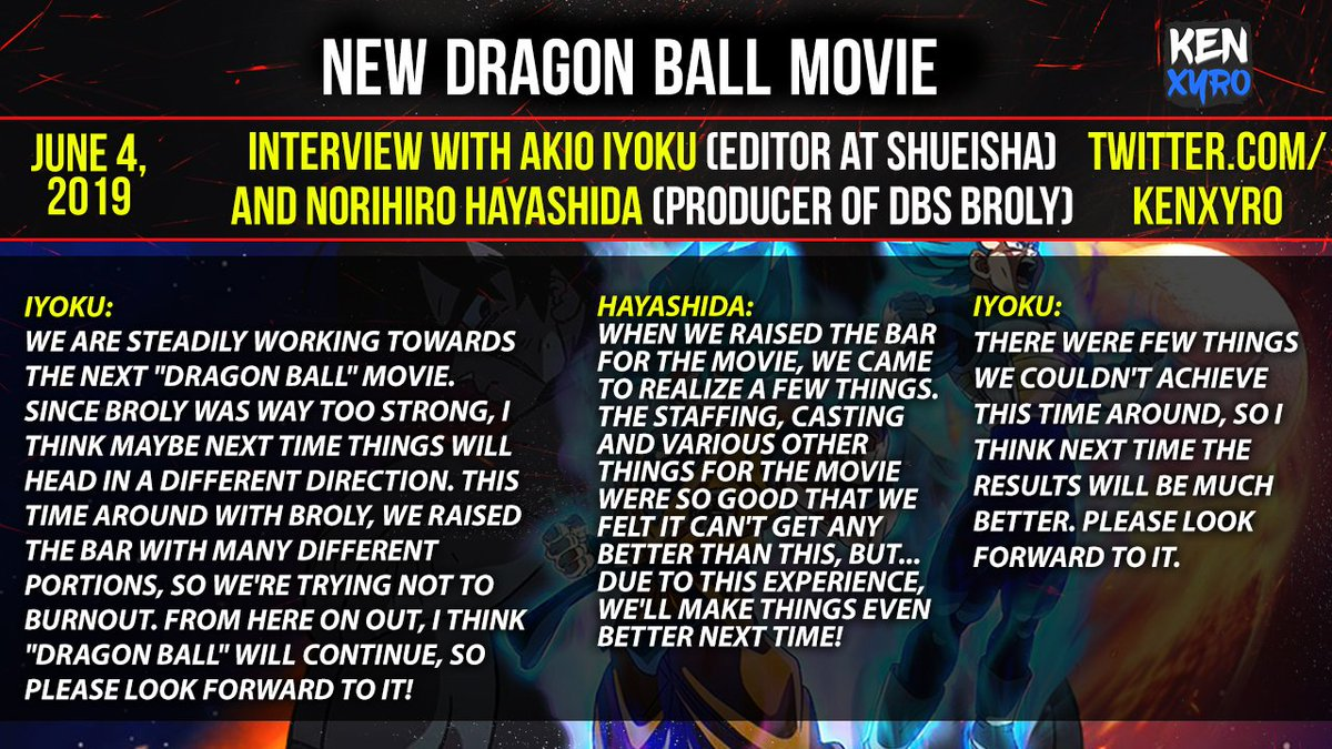 NEW Dragon Ball Movie.  This interview is from the DBS Broly Japanese edition DVD booklet