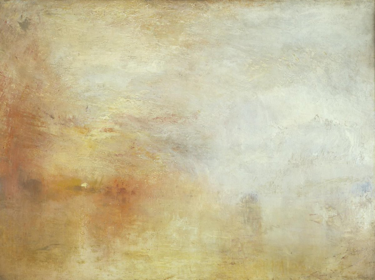 'Light is therefore colour.' - J. M. W. Turner ☀️  Check our luminous program at https://buff.ly/OmZaGe   Joseph Mallord William Turner, 'Sun Setting over a Lake', c.1840-5.