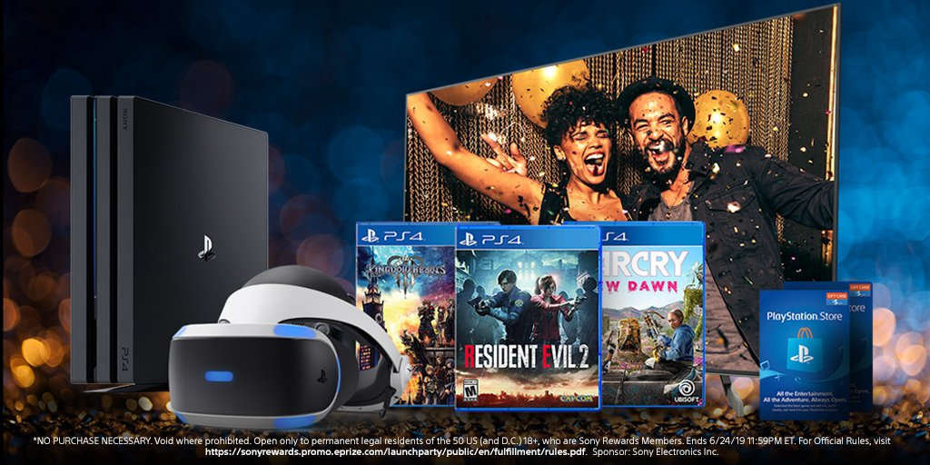 Next level gaming. Enter for a chance to win this bundle, including a 4K TV, PSVR, PS4 Pro Limited Edition, and more, all in honor of the launch of the new #SonyRewards app. https://go.sony.com/2UUDuZX  🎮