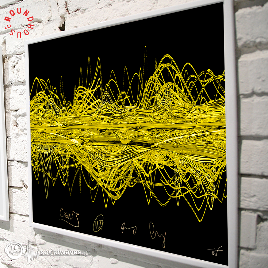 .@RoundhouseLDN has teamed up with @Soundwaves_Art to create 9 original Tim Wakefield artworks of the sound waves in Coldplay songs. Theyre signed by the band and up for auction, with the proceeds going to support the Roundhouses charitable work -> rhou.se/2EJ8XZS. A