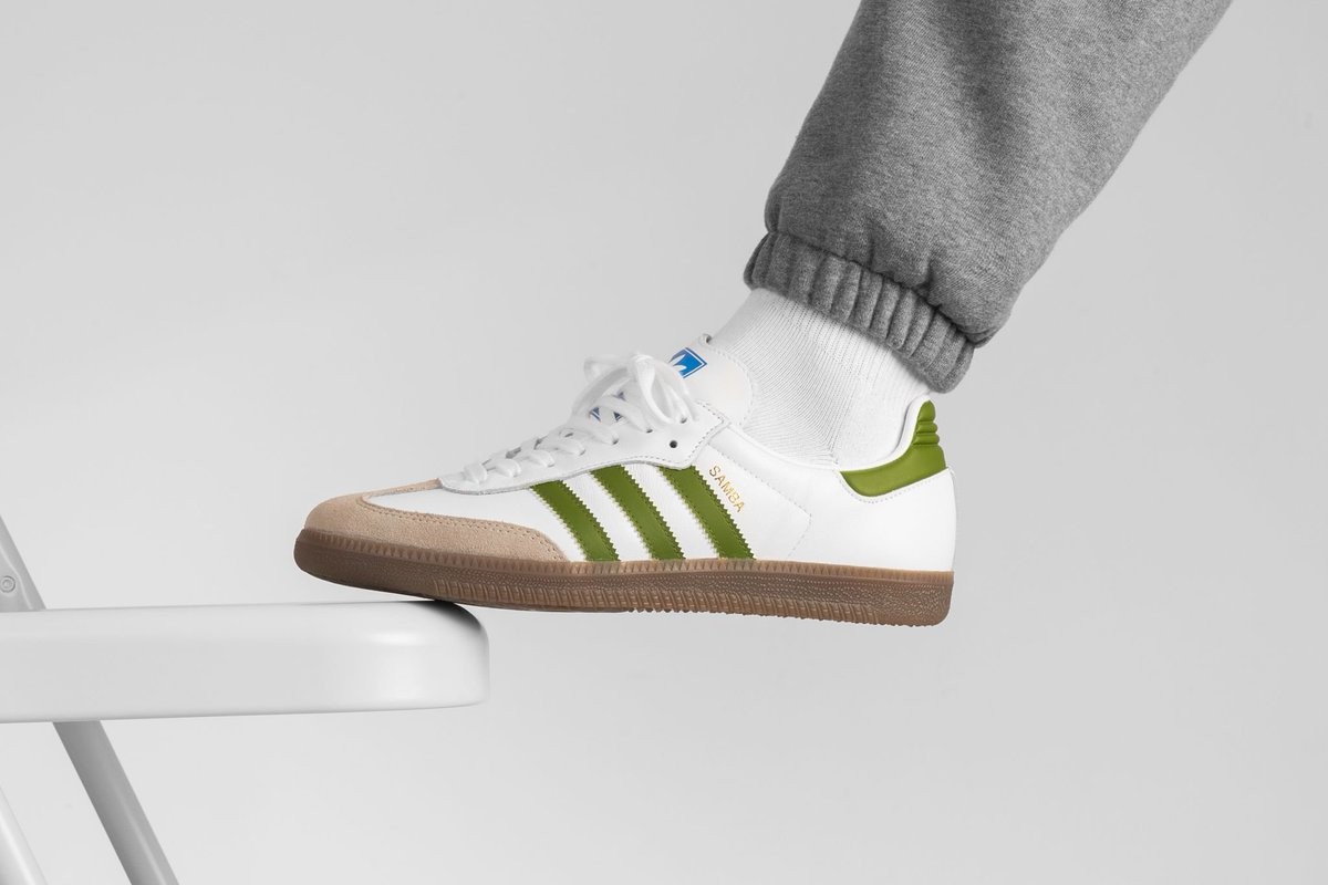 look out for utterly stylish low price Adidas Samba OG in White/Tech Olive/Light Brown. click ...