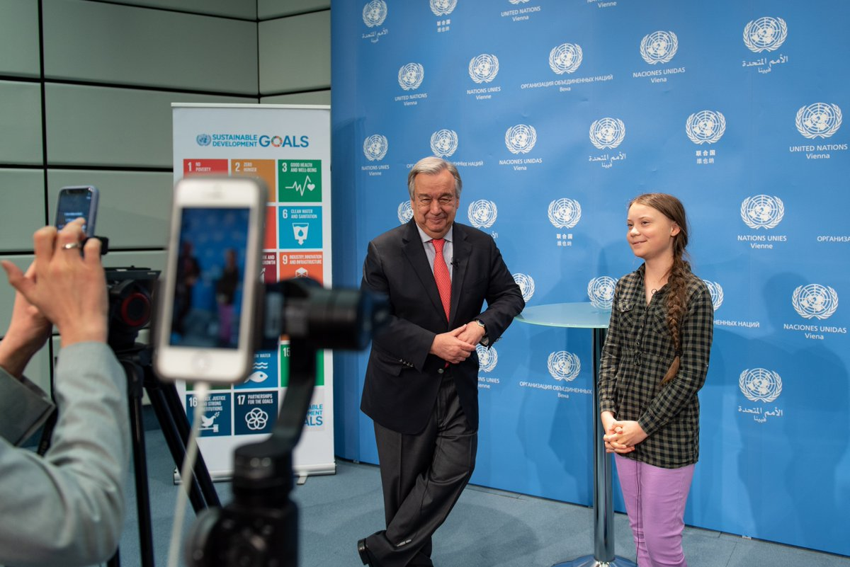 """I trust young people like @GretaThunberg to push my generation, to push their parents, to push societies to save our planet & our future.""   Watch @antonioguterres' #ClimateActoin conversation with the youth activist here: https://www.instagram.com/tv/BySck2fligB/"