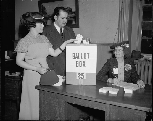 Vintage photo of ballot box & voters