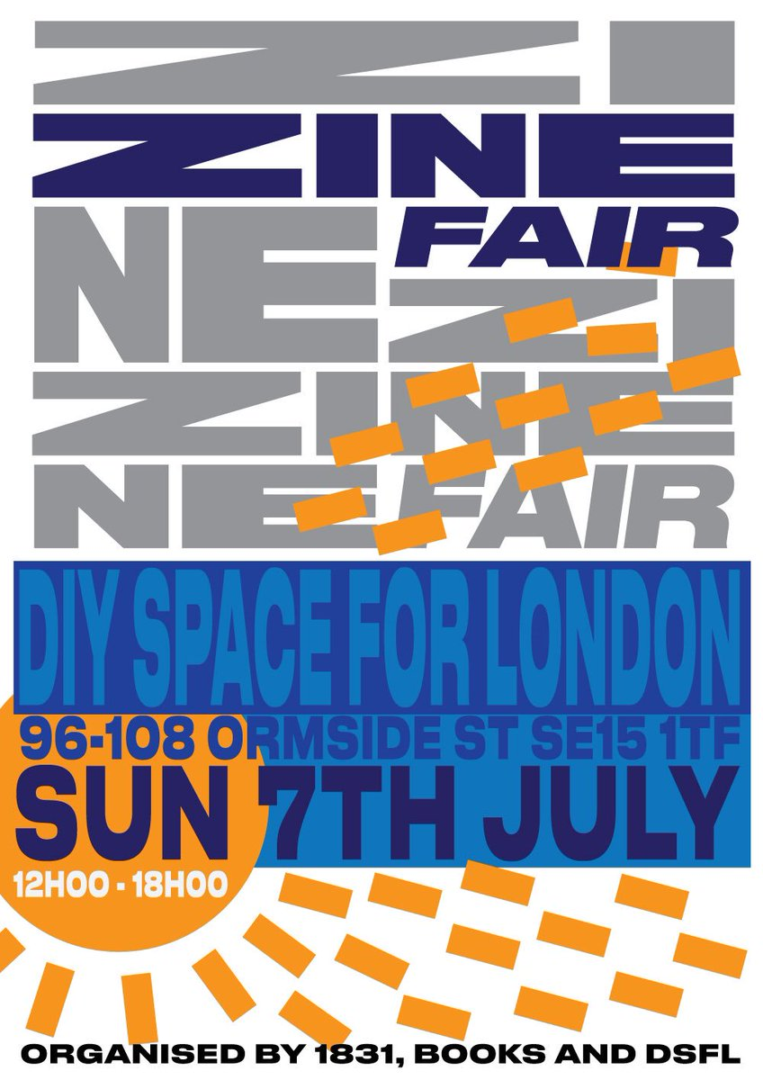 zine fair at the best place on earth @diyspace4london - email books@books-peckham.com for tables (£5 will be letting everyone know by 16th june so don't hassle me plz) JULY 7th 12-6 come a l o n g!!!