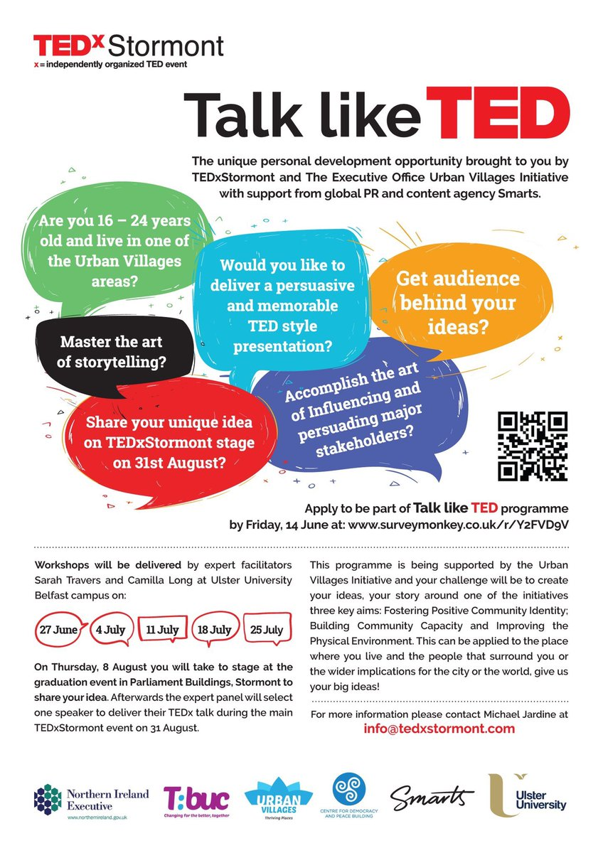 Are you 16 - 24 years old and live in one of @UrbanVillagesNI areas? Would you like to deliver a persuasive and memorable TED style presentation? Share your unique idea on #TEDxStormont stage on 31 Aug? Apply now for 'Talk like TED' programme here: http://democracyandpeace.org/talk-like-ted- …