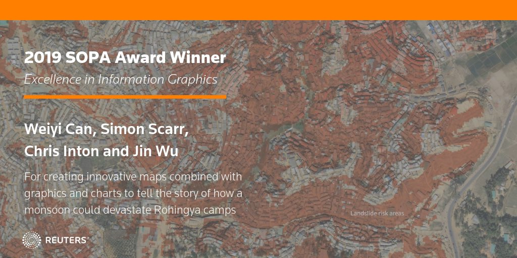 Congrats to @SimonScarr, @jwf825, @dawncai624 and Chris Inton for their @sopasia award win in Excellence in Information Graphics for innovative maps, graphics and charts that told the story of how a monsoon could devastate Rohingya camps #sopawards2019 https://t.co/0MAOPo7BM1