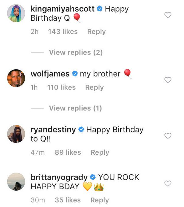Quincy s family, Amiyah Scott, Luke James, Ryan Destiny and Brittany O Grady wishing him a Happy Birthday