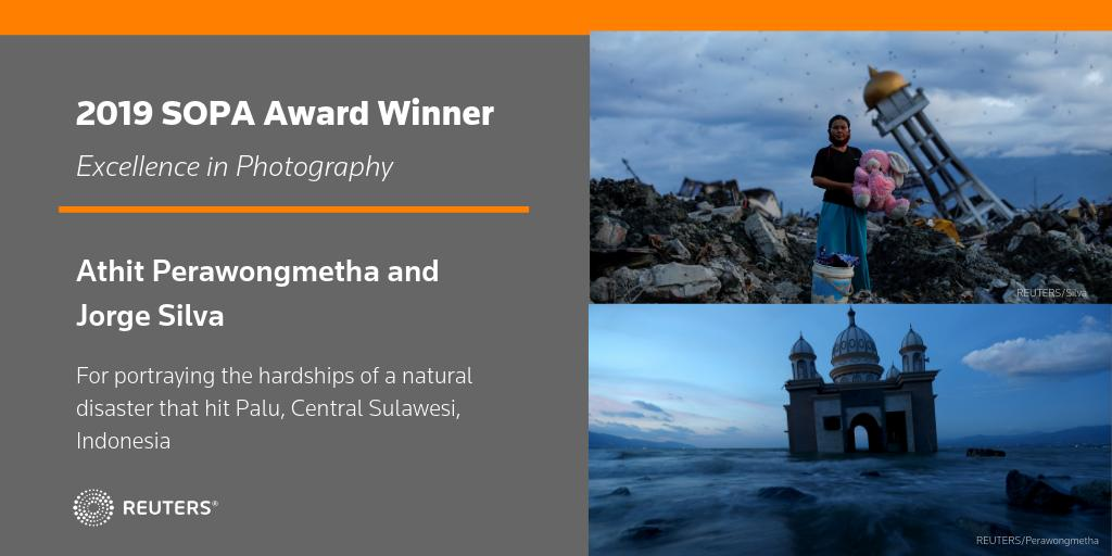 Congratulations to @jgesilva and @Athit_P for their @sopasia award in Excellence in Photography for portraying the hardship after an earthquake and tsunami hit Palu, Central Sulawesi, Indonesia #sopawards2019 https://t.co/r9bt8MKzav