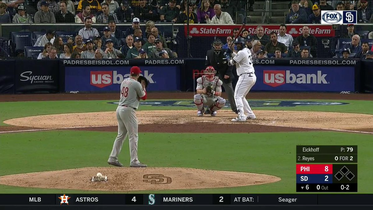 Franmil Reyes. Crushed.  He takes over the team lead in home runs with his th blast of the year.   #FriarFaithful |  @Padres