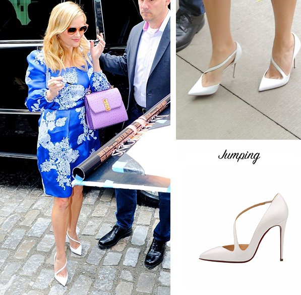 best service df668 87b98 Reese Witherspoon in Christian Louboutin Jumping out and ...