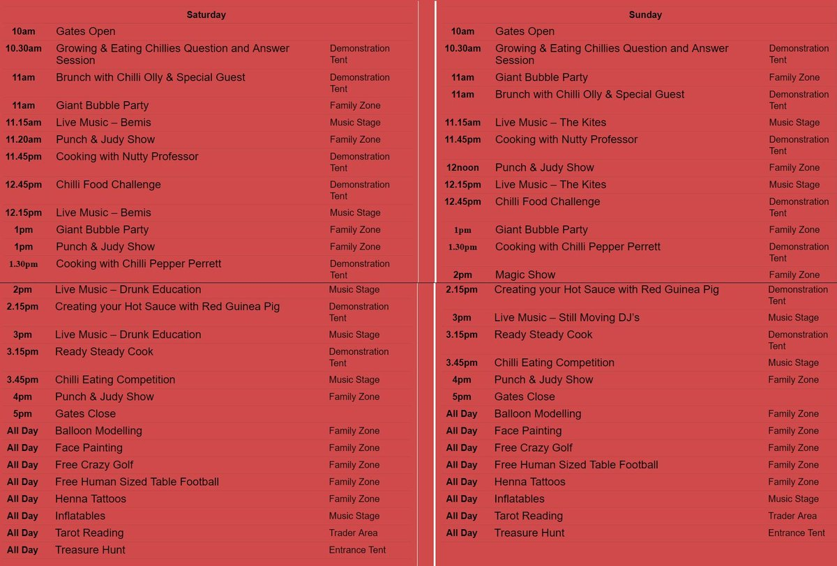 Here you go - all the spicy fun we'll be enjoying this weekend in #Christchurch #cheeseandchillifestival 10 till 5 pm Sat & Sun. Tickets on the gate or buy them on line till 8 pm tomorrow night.  http:// ow.ly/AH6J30oT5xb    <br>http://pic.twitter.com/qtyuDXfFrb
