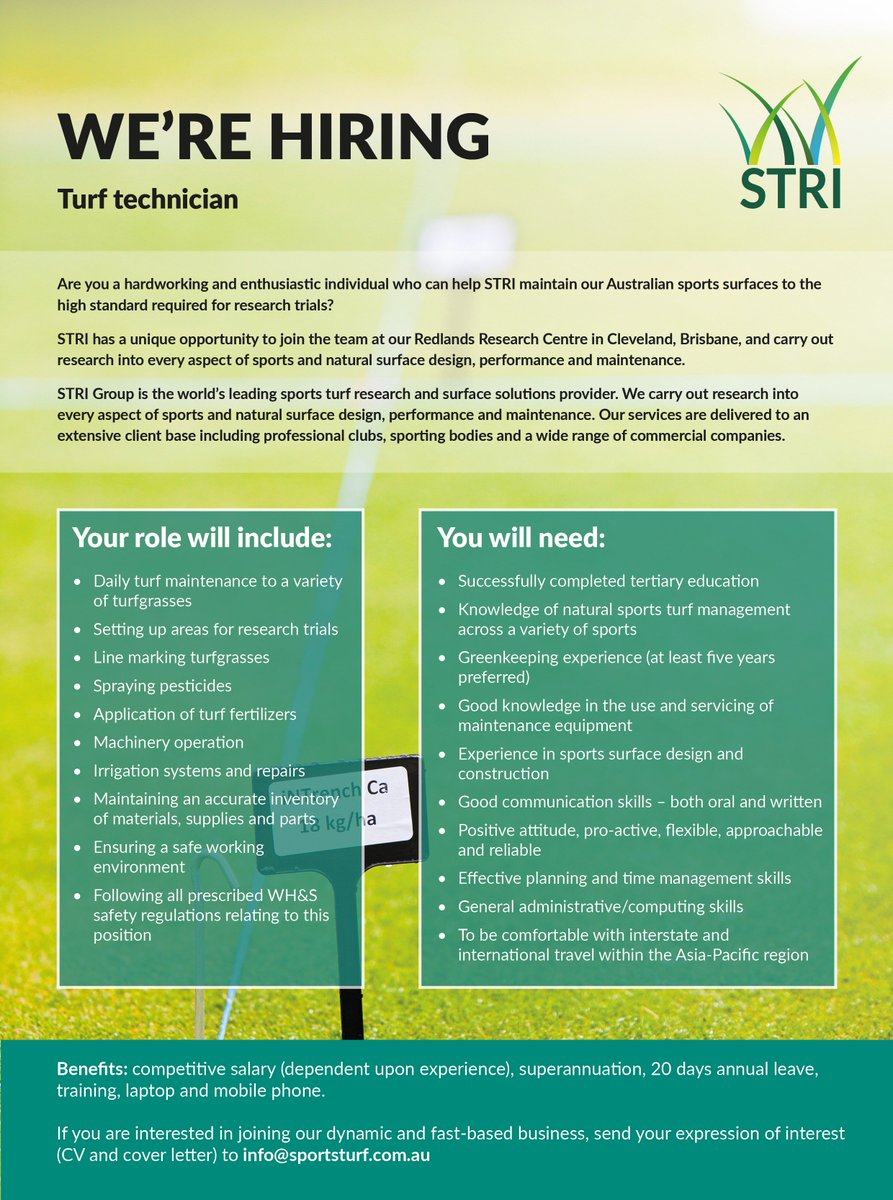 STRI Group On Twitter STRI Australia Is Hiring A Turf