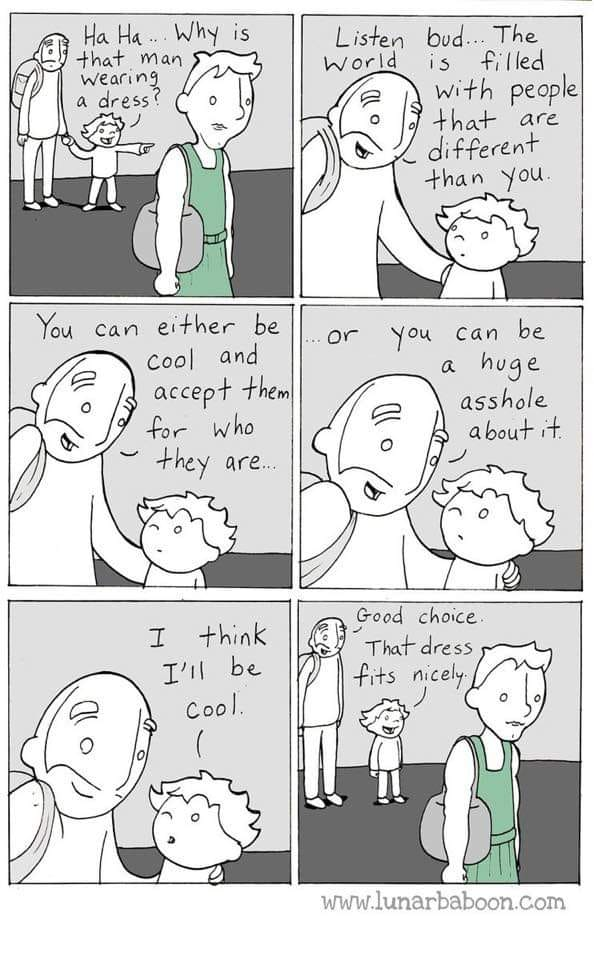 June is officially Pride month. Its easy to teach people how to be cool. This cartoon can help!